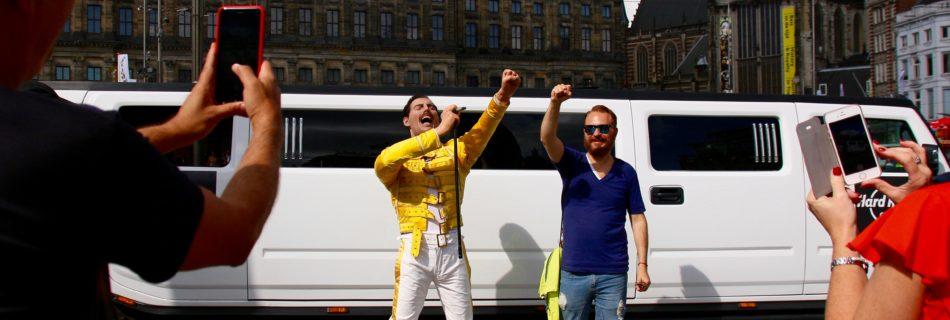 Beeld Freddie Mercury op de Dam - Hard Rock Café Amsterdam - Bron: Persbericht Hard Rock Café
