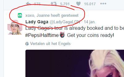 Lady Gaga wereldtournee tweet