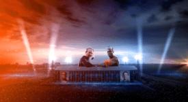Jandino en Najib Amhali in de Kuip. Bron: Persbericht